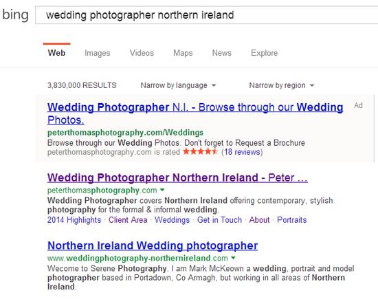 Bing SEO for PeterThomas Photography