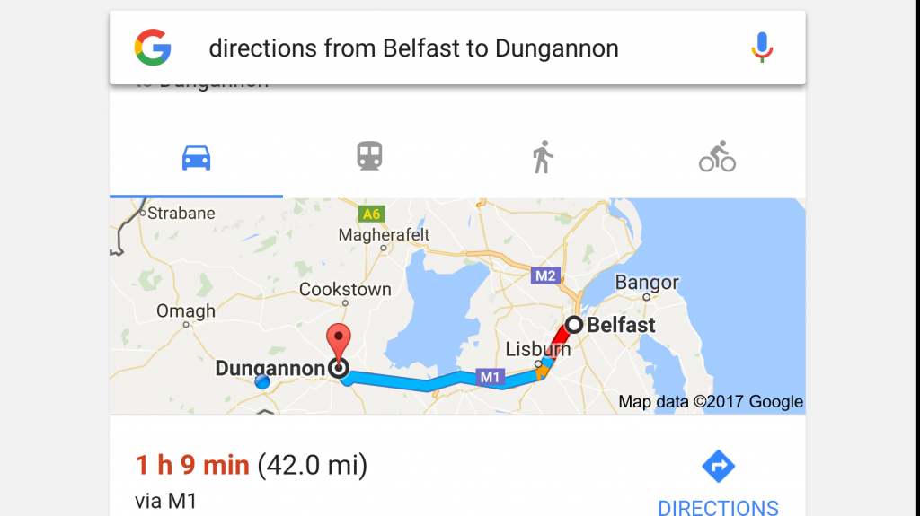 google voice search - belfast to dungannon