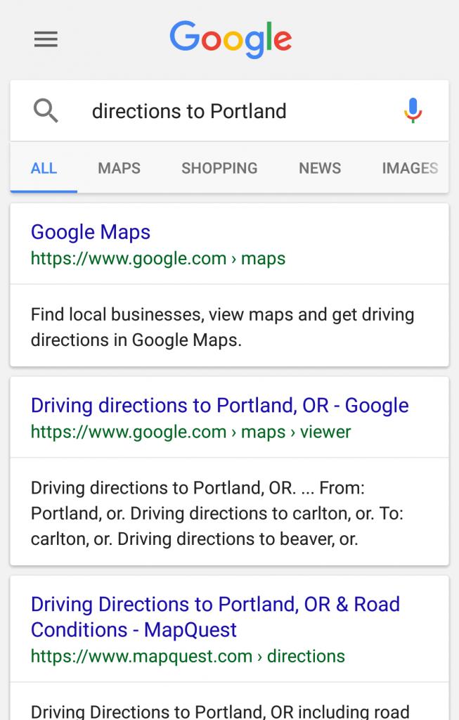 google voice search - directions to portglenone portland