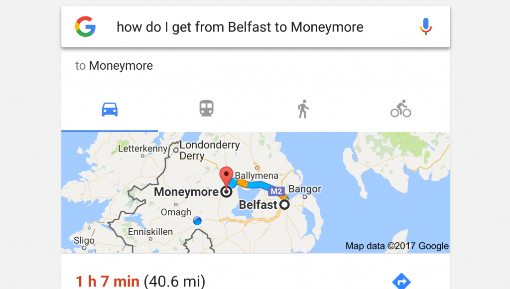 google voice search - belfast to moneymore