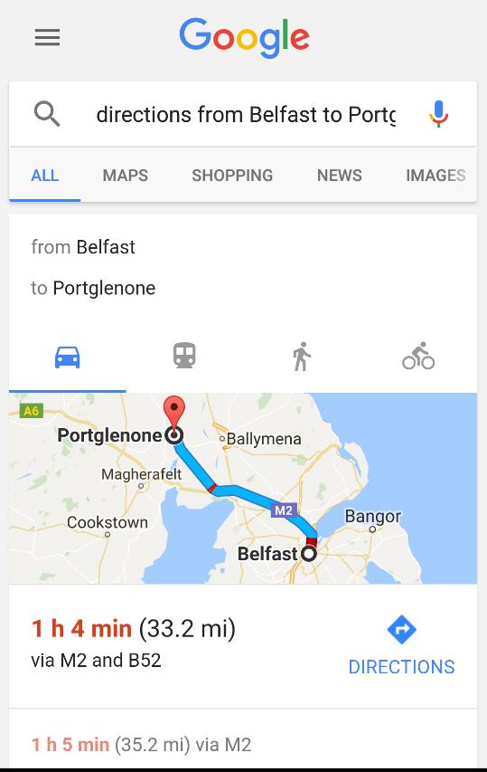 google voice search - belfast to portglenone