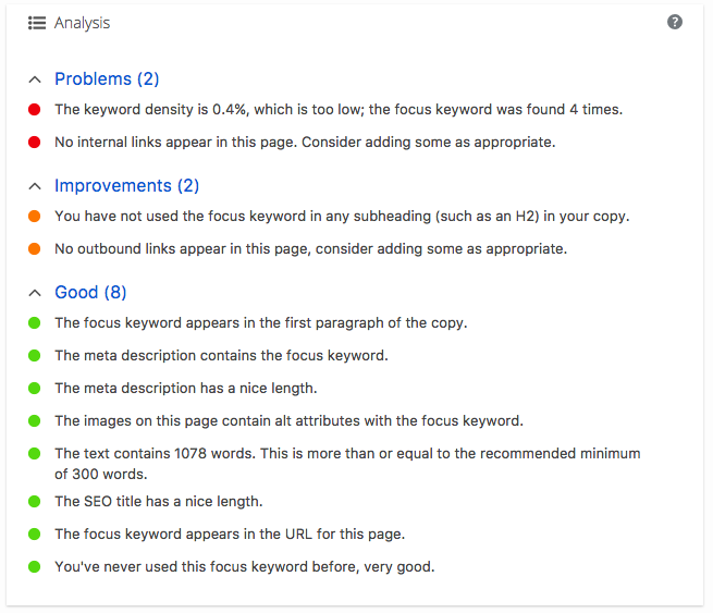 Yoast SEO Keyword Tab Analysis