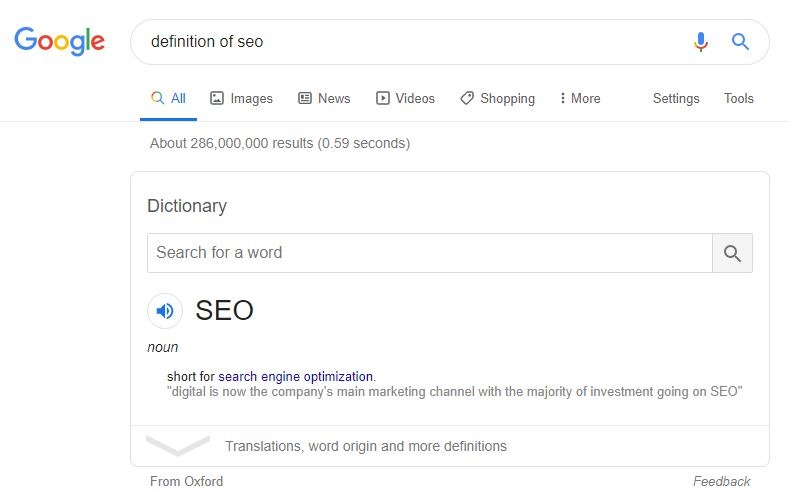 Google Dictionary Snippet