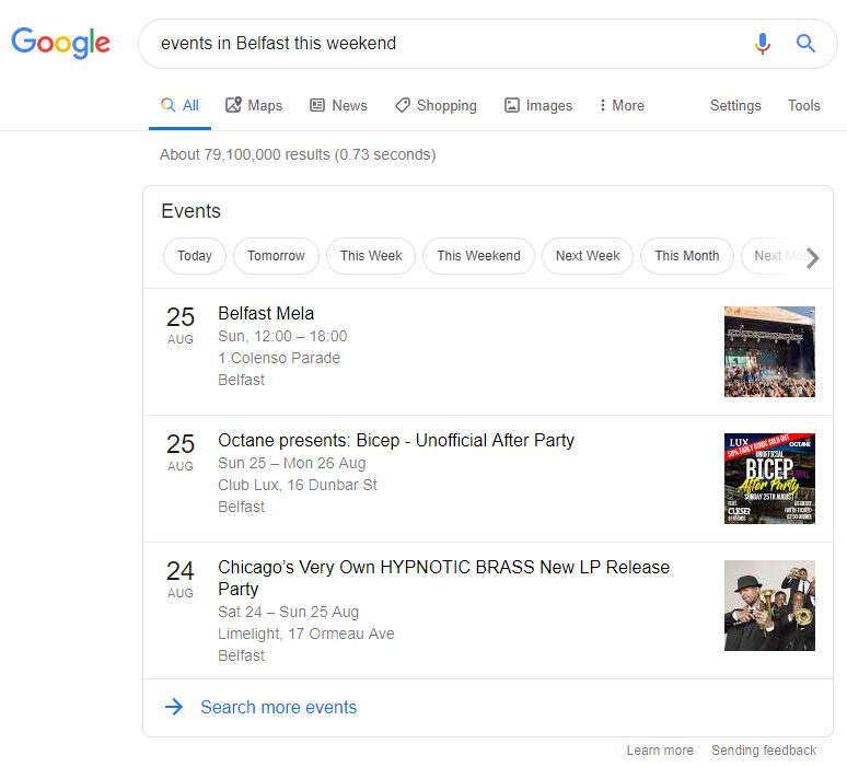 Google Events Snippet