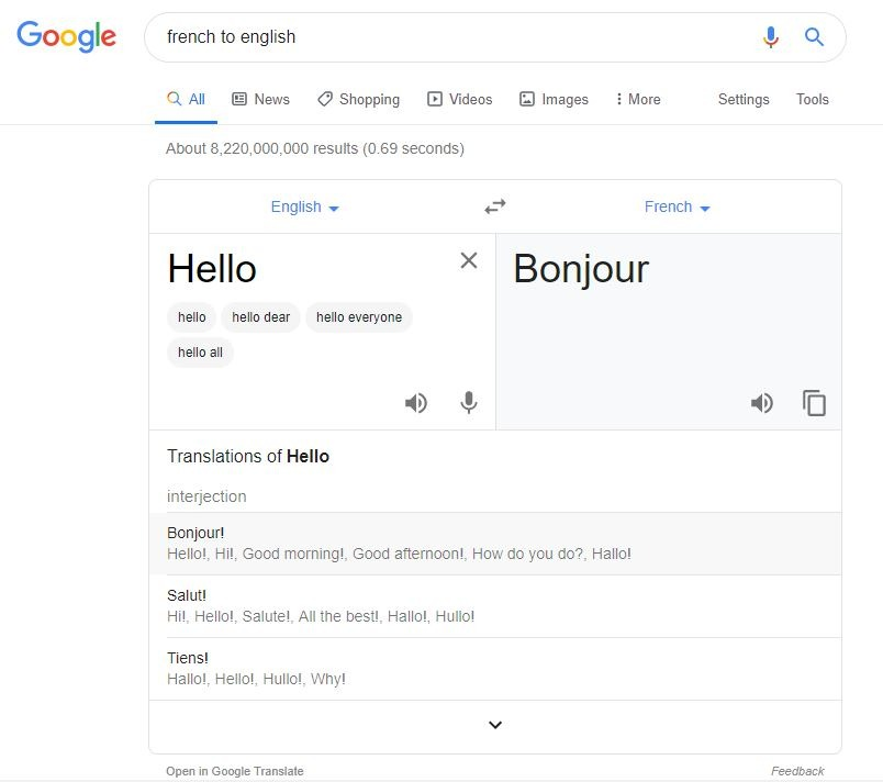 Google Translate Snippet