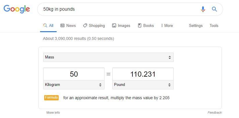 Google unit converter Snippet
