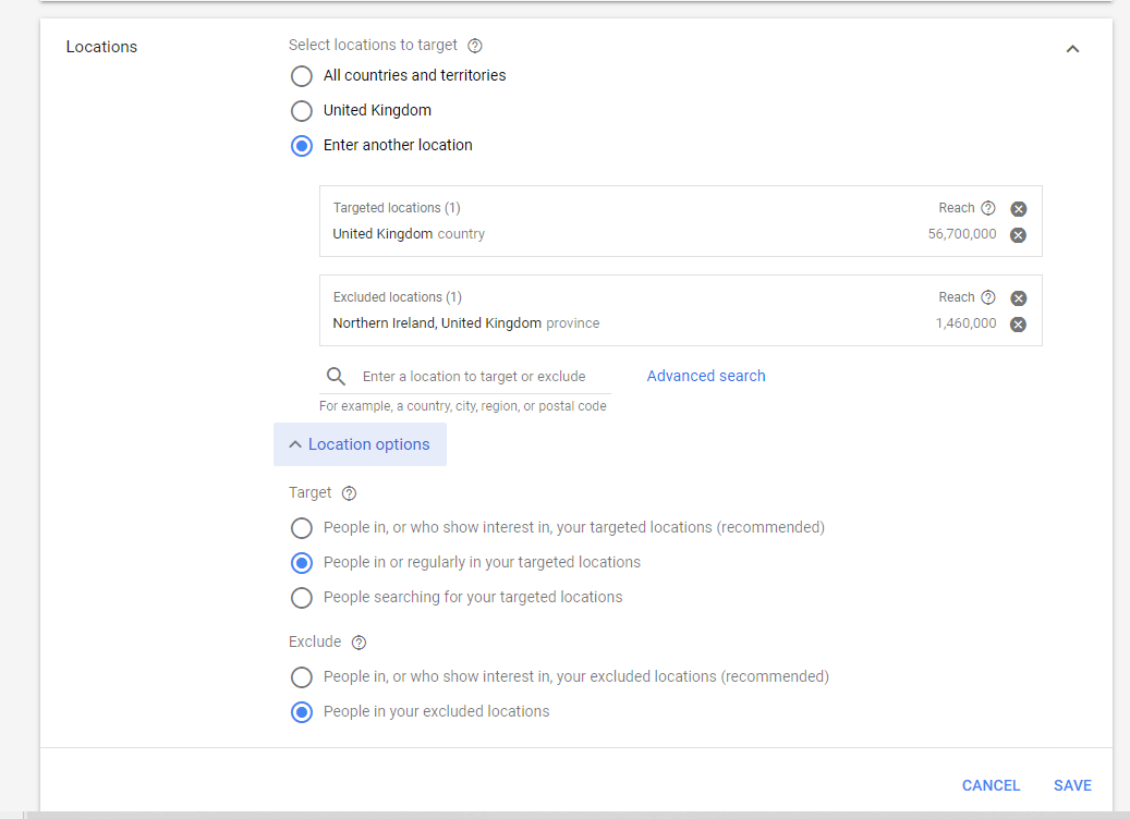 Google Ads Advanced Location Settings