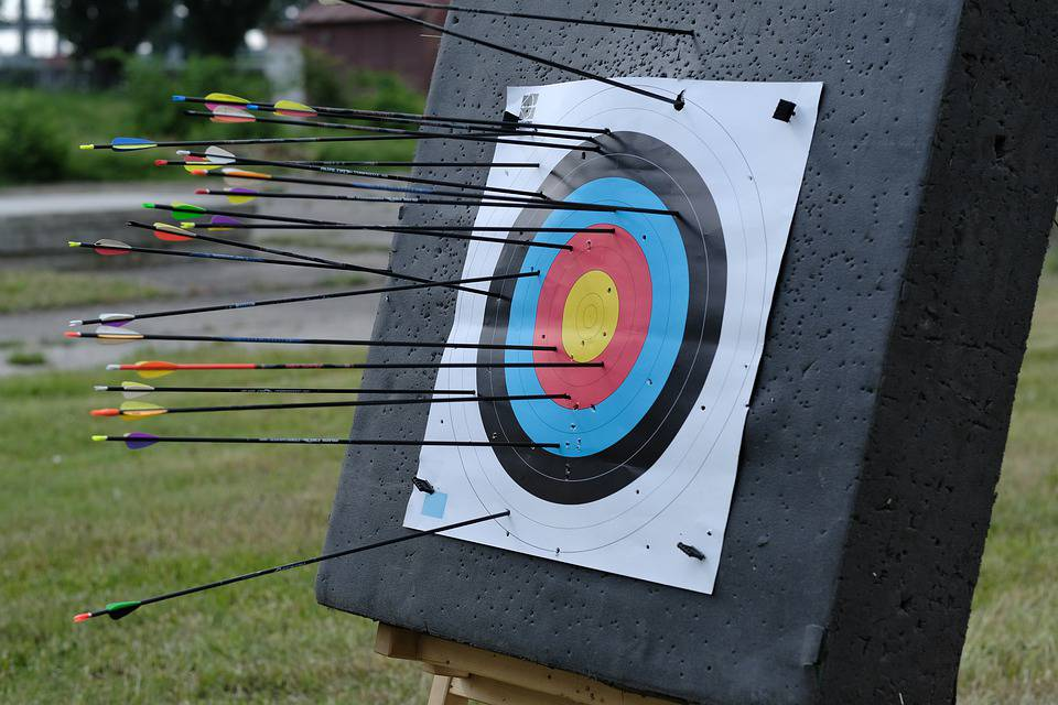 Arrow misses archery target