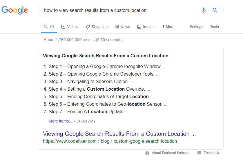 Google Featured Snippets January 2020 Update