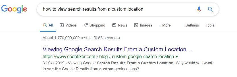 view search results without featured snippet
