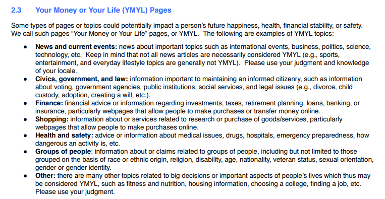 Google YMYL Guidelines