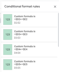 google sheets conditional formatting green