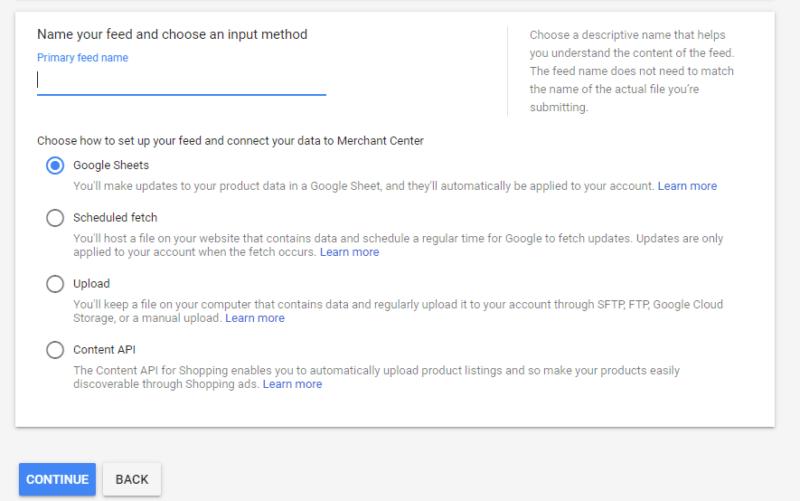 Google Shopping Feed Setup Step 2