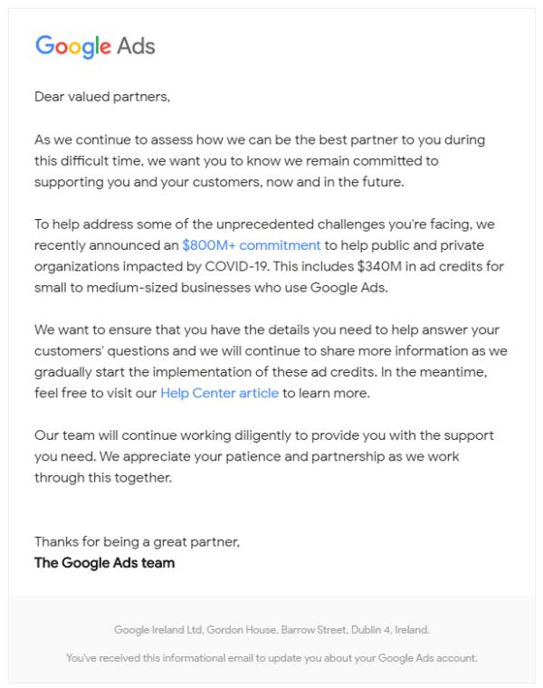 Google Ads Credits Email