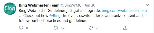 Bing Webmasters Team Tweet