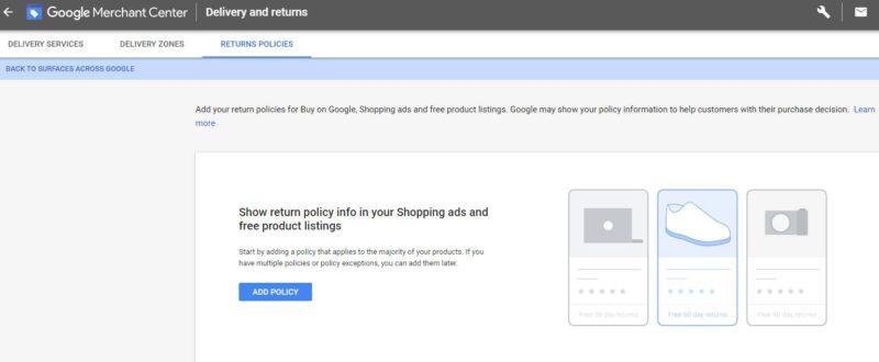 Google Merchant Center Returns Policy