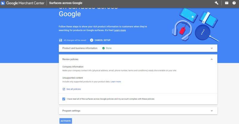 Google Merchant Center Activate Account