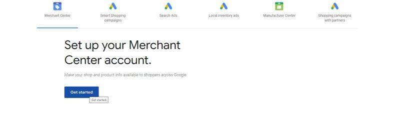 Google Merchant Center Create Account