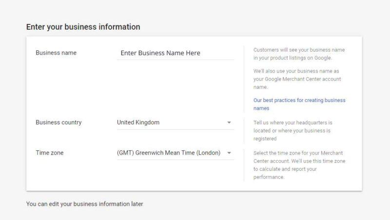 Google Merchant Center Enter Business Info