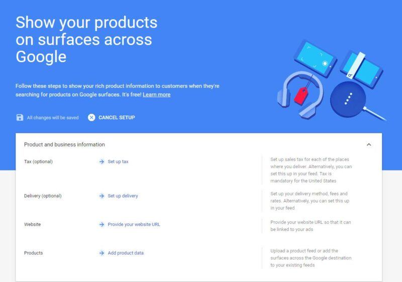 Google Merchant Center Products & Business info