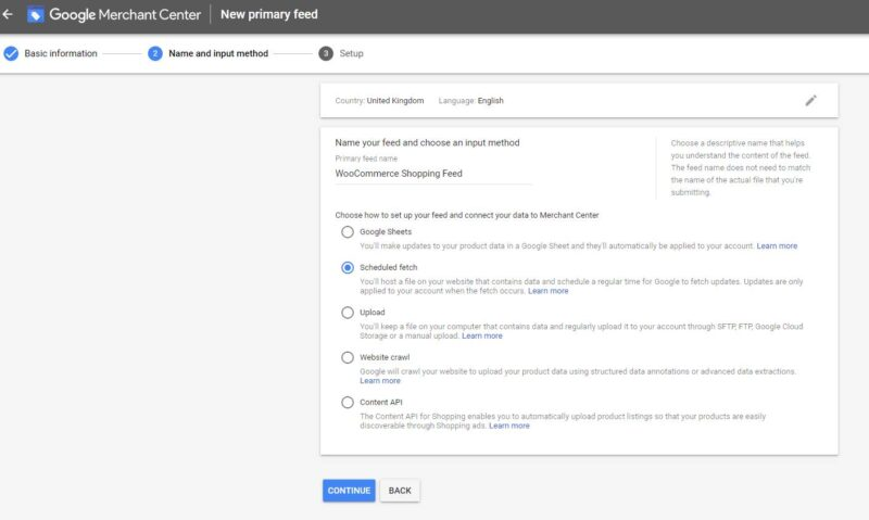 Google Merchant Center Upload Feed
