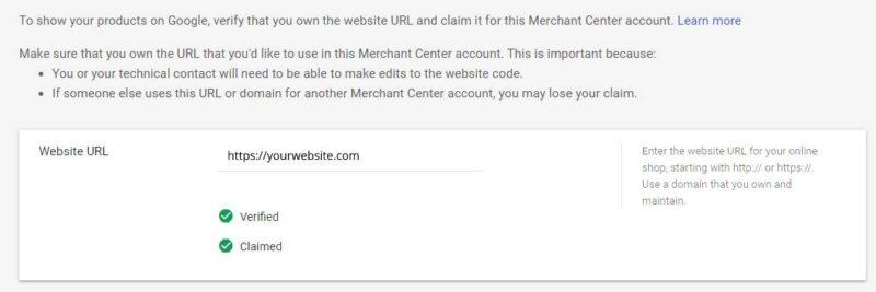 google merchant center claim website