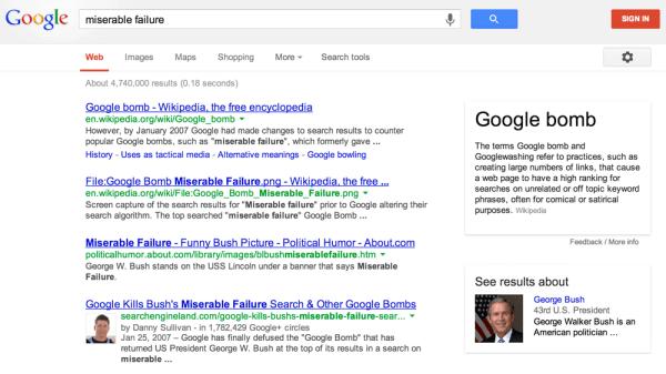Google Miserable Failure George Bush