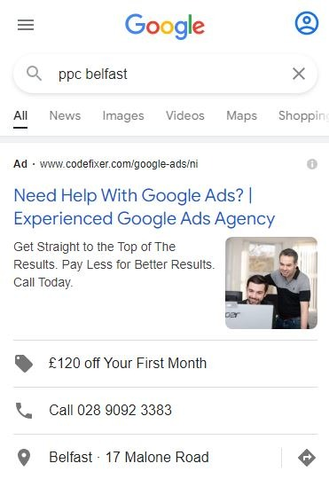Google Ads Image Extensions Example